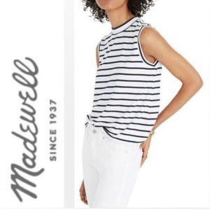 Madewell stripe mock neck tank top
